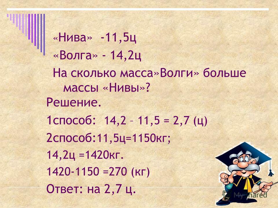 « Нива» -11,5ц «Волга» - 14,2ц На сколько масса»Волги» больше массы «Нивы»? Решение. 1способ: 14,2 – 11,5 = 2,7 (ц) 2способ: 11,5ц=1150кг; 14,2ц =1420кг. 1420-1150 =270 (кг) Ответ: на 2,7 ц.