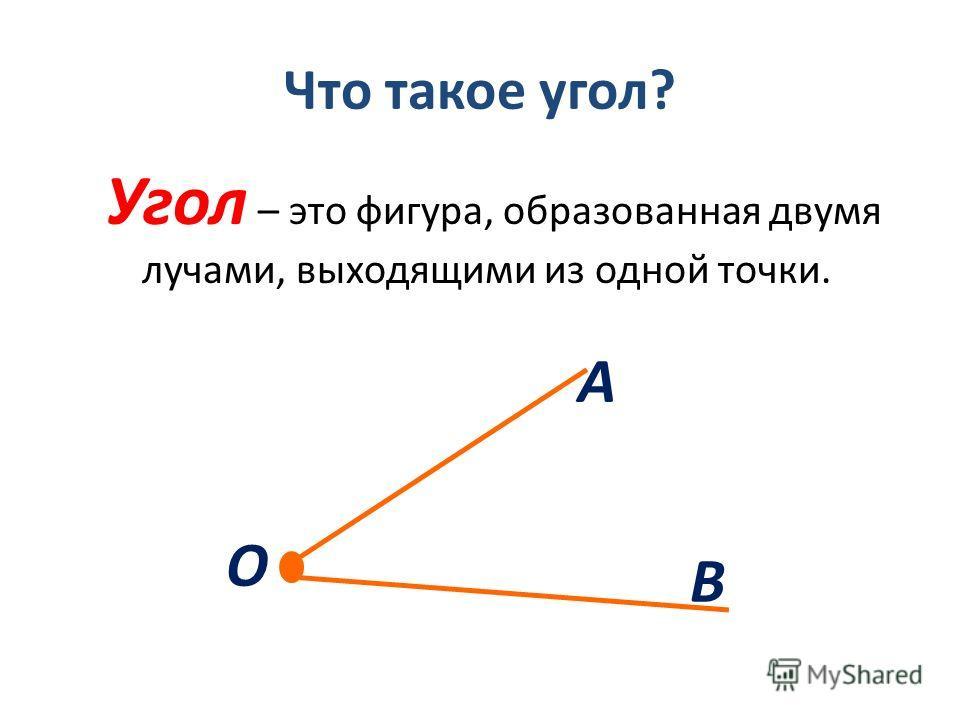 Что такое угол? Угол – это фигура, образованная двумя лучами, выходящими из одной точки. А В О