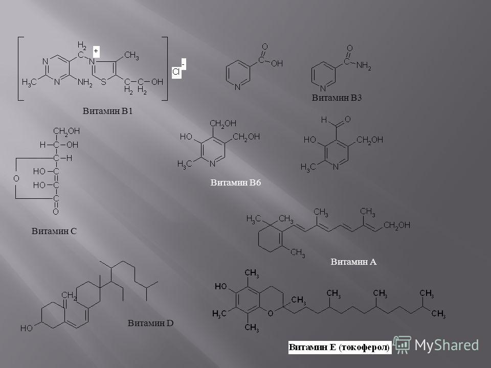 Витамин В1 Витамин В3 Витамин C Витамин А Витамин D Витамин В6