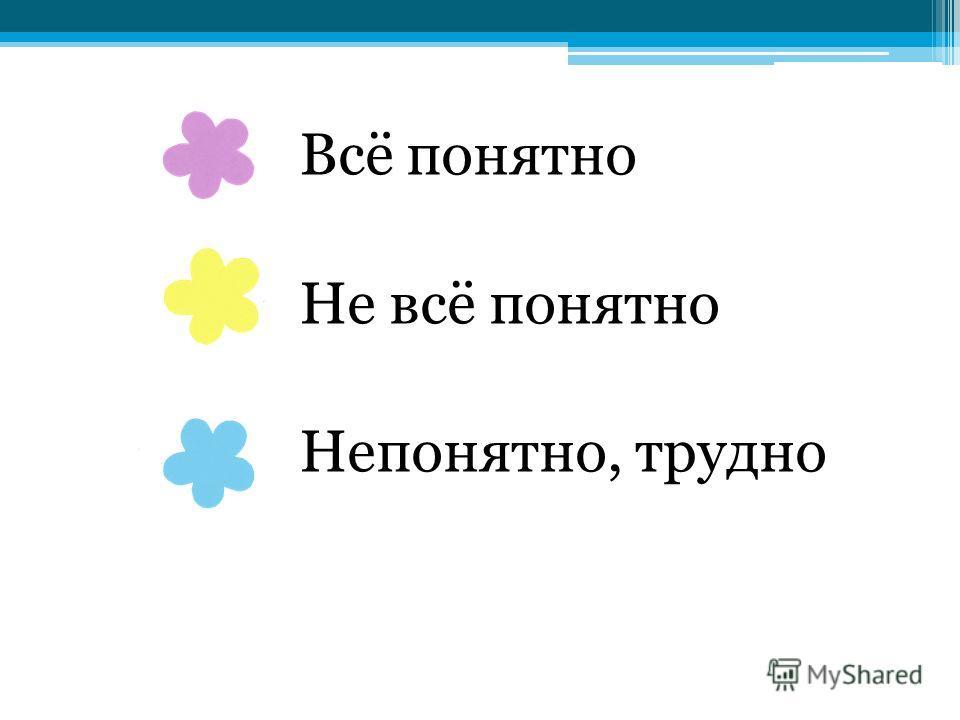 Всё понятно Не всё понятно Непонятно, трудно
