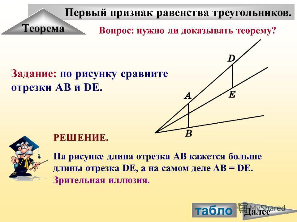 Первый признак равенства треугольников. Теорема Задание: по рисунку сравните отрезки АВ и DE. Вопрос: нужно ли доказывать теорему? РЕШЕНИЕ. На рисунке длина отрезка АВ кажется больше длины отрезка DE, а на самом деле AB = DE. Зрительная иллюзия. табл