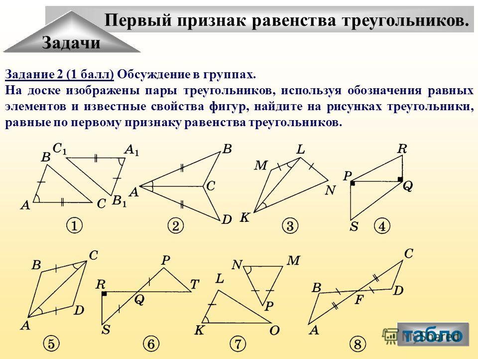 Первый признак равенства треугольников. Задачи Задание 2 (1 балл) Обсуждение в группах. На доске изображены пары треугольников, используя обозначения равных элементов и известные свойства фигур, найдите на рисунках треугольники, равные по первому при
