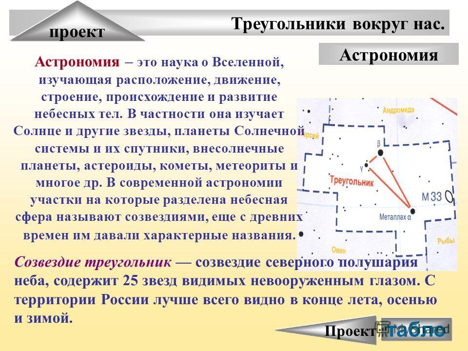 Треугольники вокруг нас. проект Астрономия Астрономия – это наука о Вселенной, изучающая расположение, движение, строение, происхождение и развитие небесных тел. В частности она изучает Солнце и другие звезды, планеты Солнечной системы и их спутники,