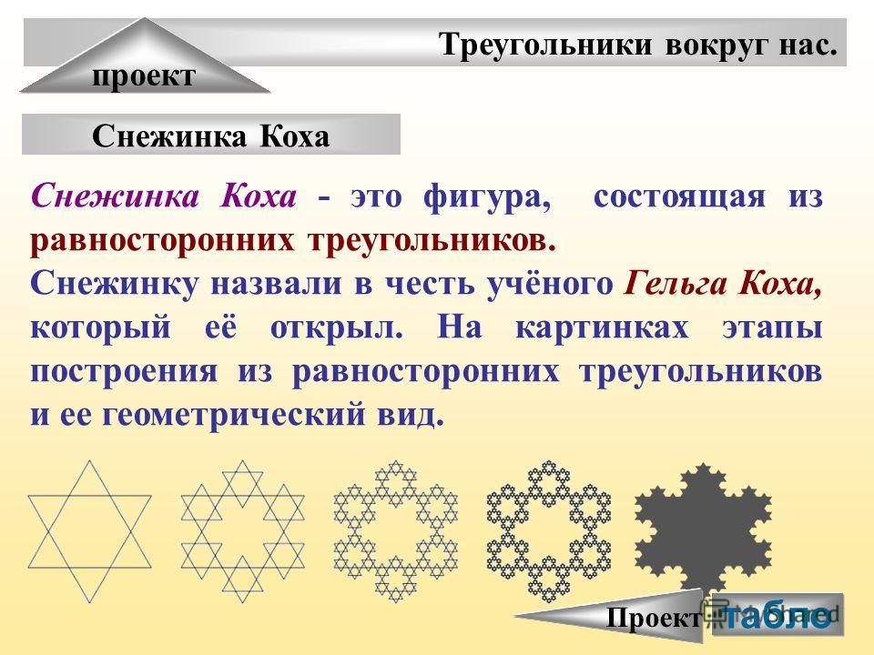 Треугольники вокруг нас. проект Снежинка Коха Снежинка Коха - это фигура, состоящая из равносторонних треугольников. Снежинку назвали в честь учёного Гельга Коха, который её открыл. На картинках этапы построения из равносторонних треугольников и ее г