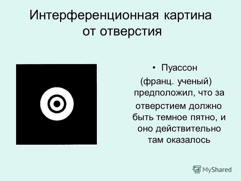 Интерференционная картина от отверстия Пуассон (франц. ученый) предположил, что за отверстием должно быть темное пятно, и оно действительно там оказалось