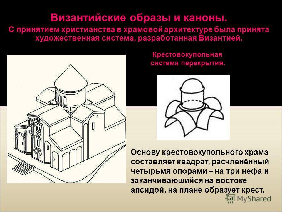 Византийские образы и каноны. С принятием христианства в храмовой архитектуре была принята художественная система, разработанная Византией. Основу крестовокупольного храма составляет квадрат, расчленённый четырьмя опорами – на три нефа и заканчивающи