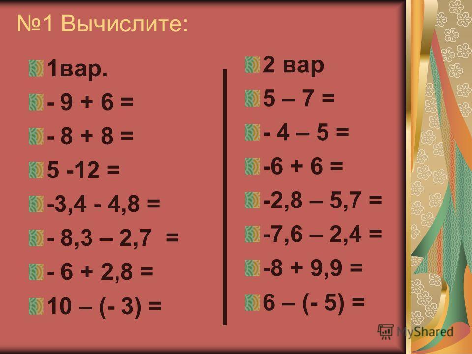 1 Вычислите: 1вар. - 9 + 6 = - 8 + 8 = 5 -12 = -3,4 - 4,8 = - 8,3 – 2,7 = - 6 + 2,8 = 10 – (- 3) = 2 вар 5 – 7 = - 4 – 5 = -6 + 6 = -2,8 – 5,7 = -7,6 – 2,4 = -8 + 9,9 = 6 – (- 5) =