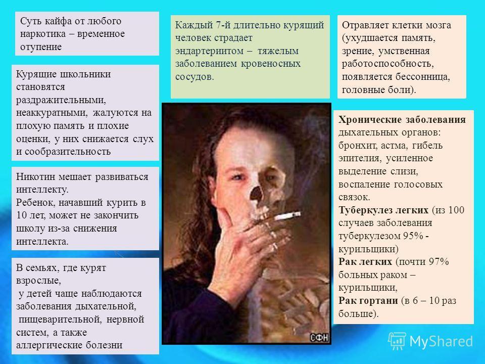 Курящие школьники становятся раздражительными, неаккуратными, жалуются на плохую память и плохие оценки, у них снижается слух и сообразительность Никотин мешает развиваться интеллекту. Ребенок, начавший курить в 10 лет, может не закончить школу из-за