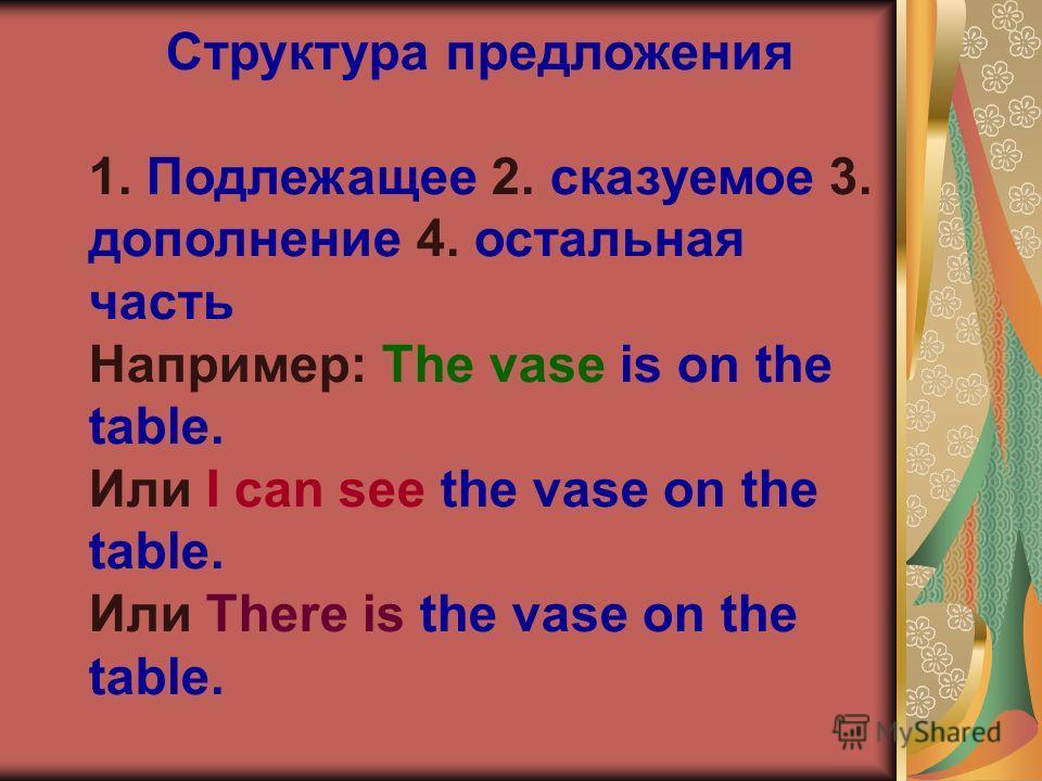 Структура предложения 1. Подлежащее 2. сказуемое 3. дополнение 4. остальная часть Например: The vase is on the table. Или I can see the vase on the table. Или There is the vase on the table.