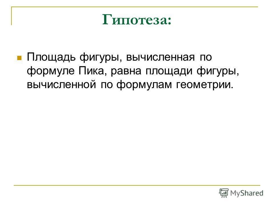 Гипотеза: Площадь фигуры, вычисленная по формуле Пика, равна площади фигуры, вычисленной по формулам геометрии.