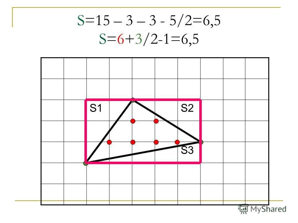 S=15 – 3 – 3 - 5/2=6,5 S=6+3/2-1=6,5 S1S2 S3