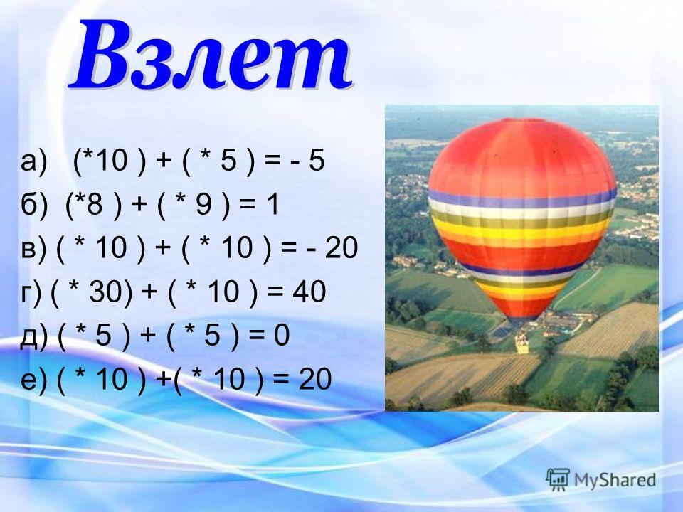 а) (*10 ) + ( * 5 ) = - 5 б) (*8 ) + ( * 9 ) = 1 в) ( * 10 ) + ( * 10 ) = - 20 г) ( * 30) + ( * 10 ) = 40 д) ( * 5 ) + ( * 5 ) = 0 е) ( * 10 ) +( * 10 ) = 20