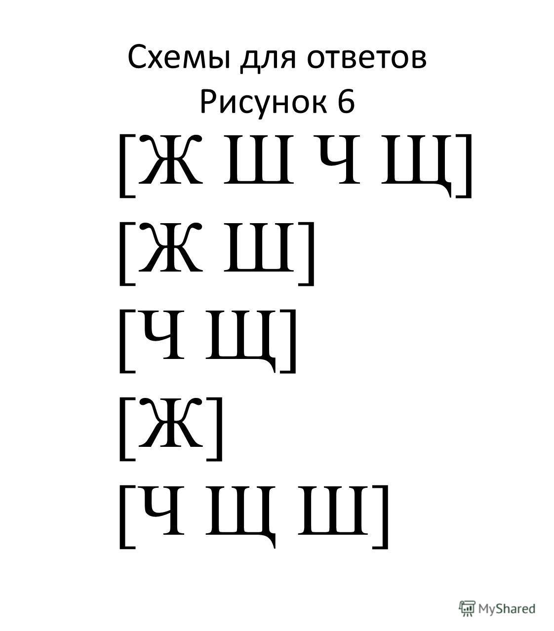 [Ж Ш Ч Щ] [Ж Ш] [Ч Щ] [Ж] [Ч Щ Ш] Схемы для ответов Рисунок 6