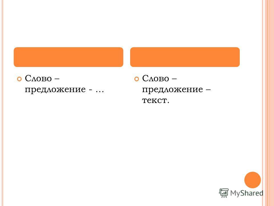 Слово – предложение - … Слово – предложение – текст.