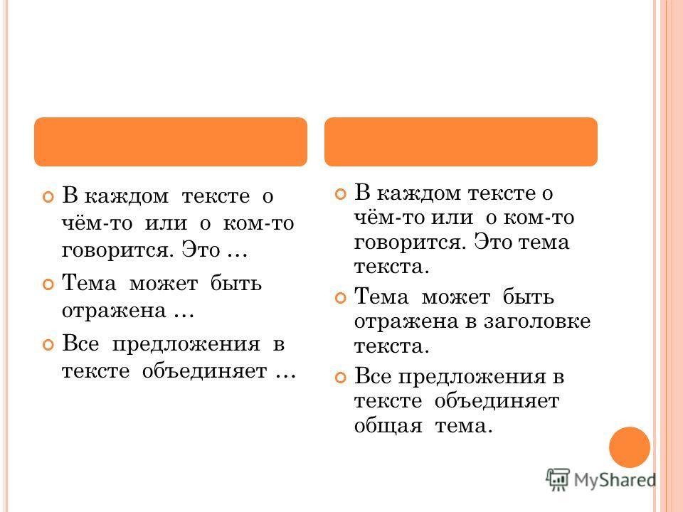 В каждом тексте о чём-то или о ком-то говорится. Это … Тема может быть отражена … Все предложения в тексте объединяет … В каждом тексте о чём-то или о ком-то говорится. Это тема текста. Тема может быть отражена в заголовке текста. Все предложения в т