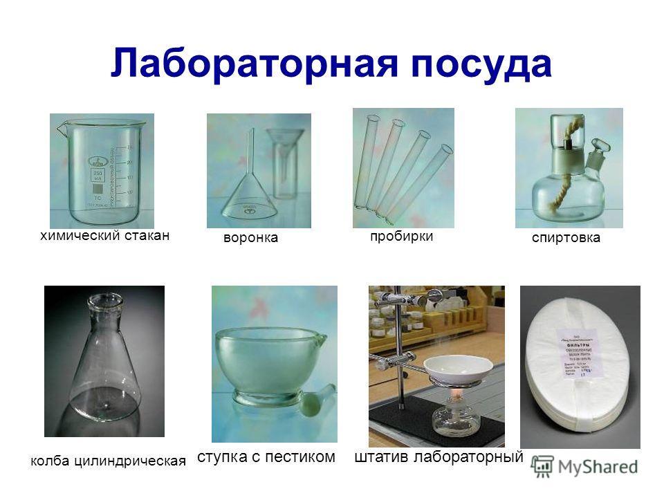 Лабораторная посуда химический стакан воронка пробирки спиртовка колба цилиндрическая ступка с пестиком штатив лабораторный