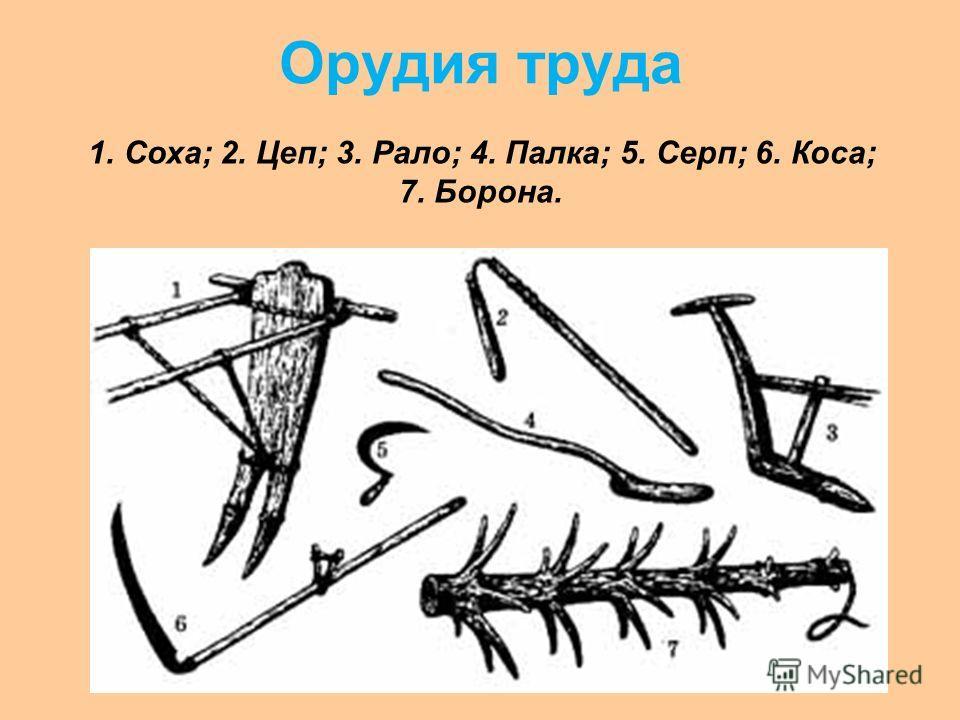 Орудия труда 1. Соха; 2. Цеп; 3. Рало; 4. Палка; 5. Серп; 6. Коса; 7. Борона.