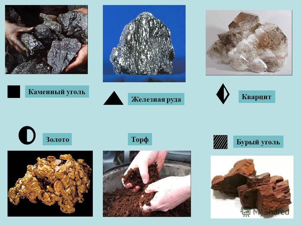 Каменный уголь Железная руда Золото Бурый уголь Торф Кварцит