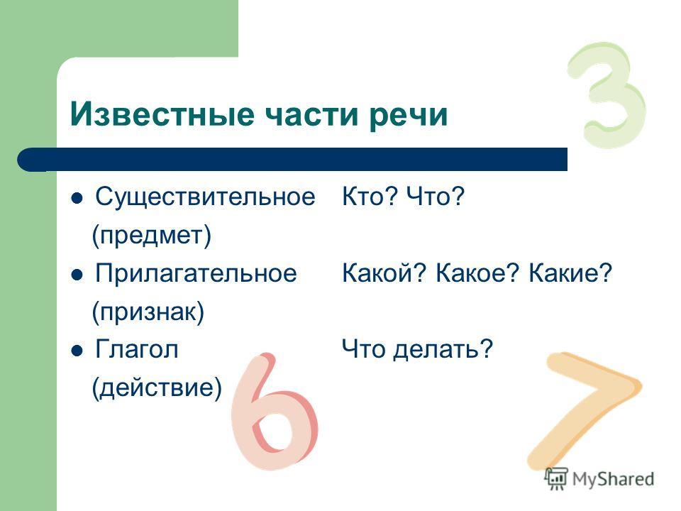 Известные части речи СуществительноеКто? Что? (предмет) ПрилагательноеКакой? Какое? Какие? (признак) ГлаголЧто делать? (действие)