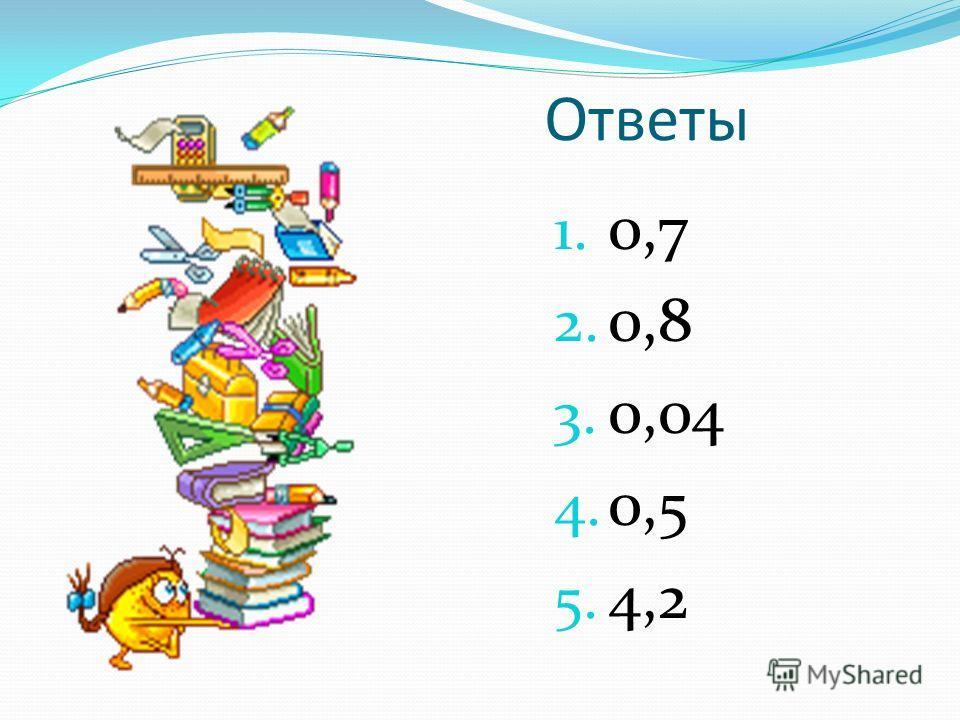 Ответы 1. 0,7 2. 0,8 3. 0,04 4. 0,5 5. 4,2