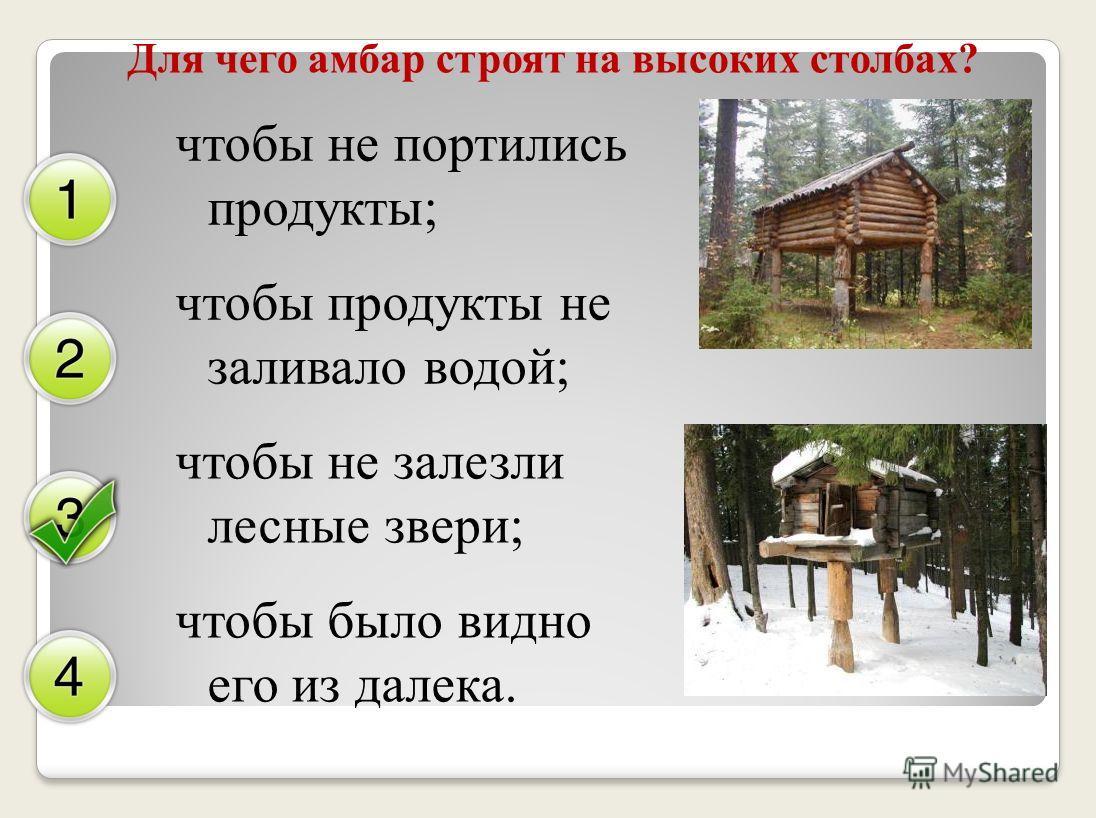 Для чего амбар строят на высоких столбах? чтобы не портились продукты; чтобы продукты не заливало водой; чтобы не залезли лесные звери; чтобы было видно его из далека.