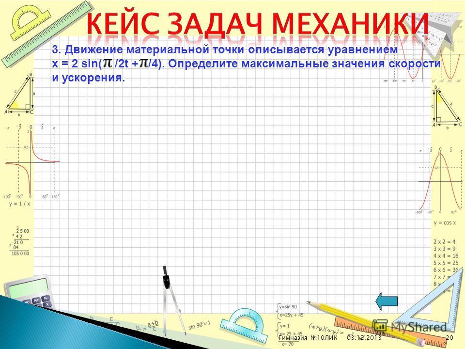 03.12.2013Гимназия 10ЛИК20 3. Движение материальной точки описывается уравнением x = 2 sin( /2t + /4). Определите максимальные значения скорости и ускорения.