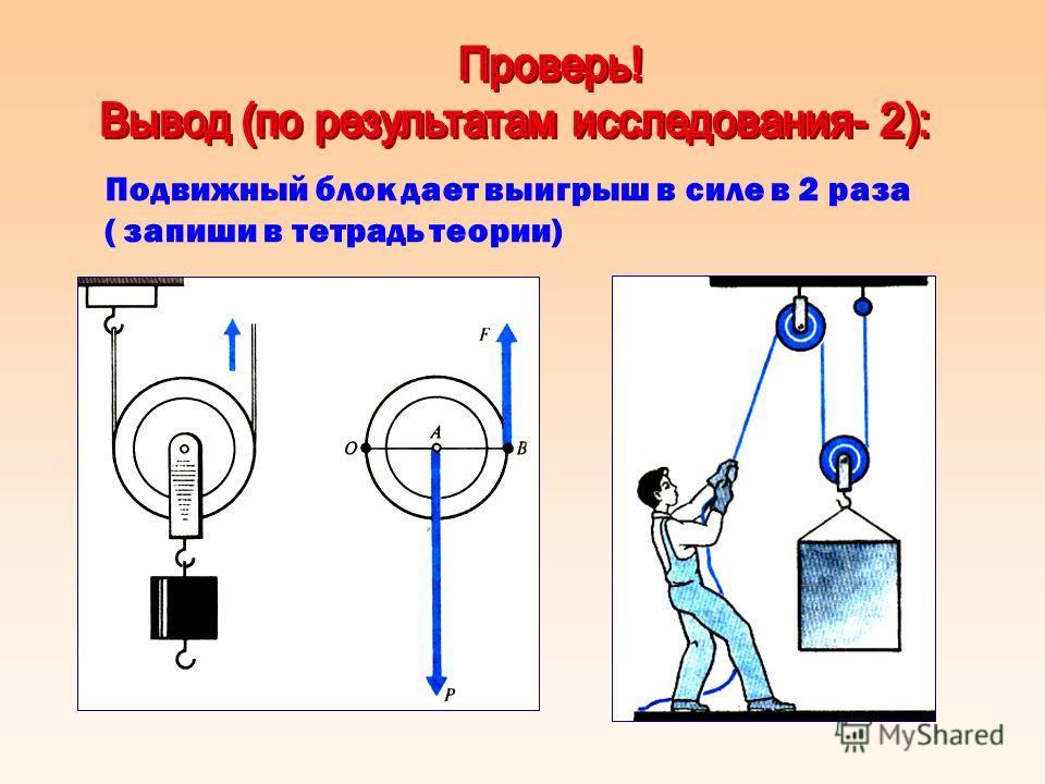 Подвижный блок дает выигрыш в силе в 2 раза ( запиши в тетрадь теории)