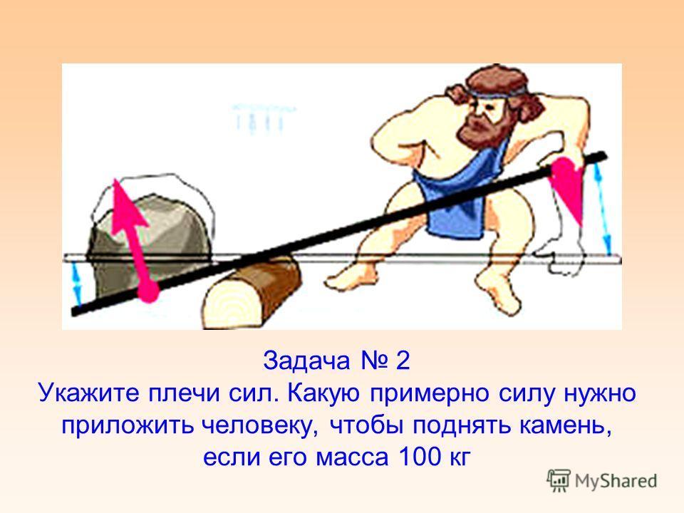 Задача 2 Укажите плечи сил. Какую примерно силу нужно приложить человеку, чтобы поднять камень, если его масса 100 кг
