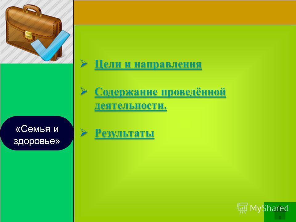 «Семья и здоровье» Цели и направления Содержание проведённой деятельности. Содержание проведённой деятельности. Результаты Цели и направления Содержание проведённой деятельности. Содержание проведённой деятельности. Результаты