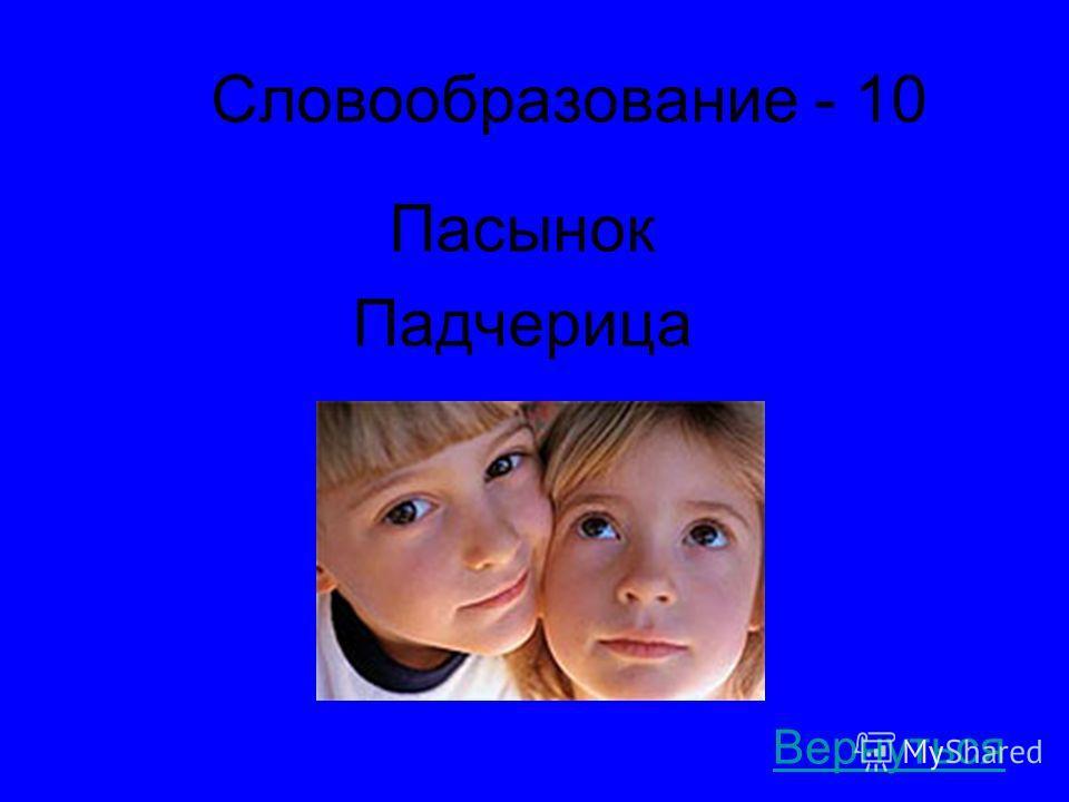 Словообразование - 10 Пасынок Падчерица Вернуться
