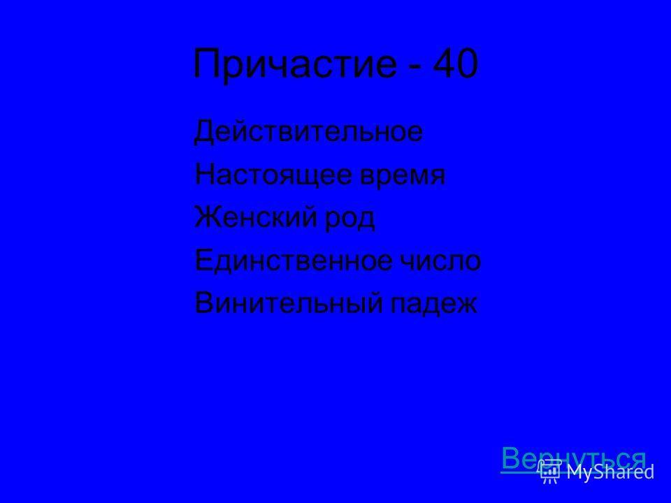 Причастие - 40 Действительное Настоящее время Женский род Единственное число Винительный падеж Вернуться