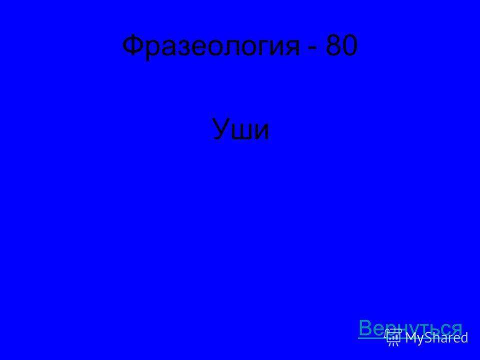 Фразеология - 80 Уши Вернуться