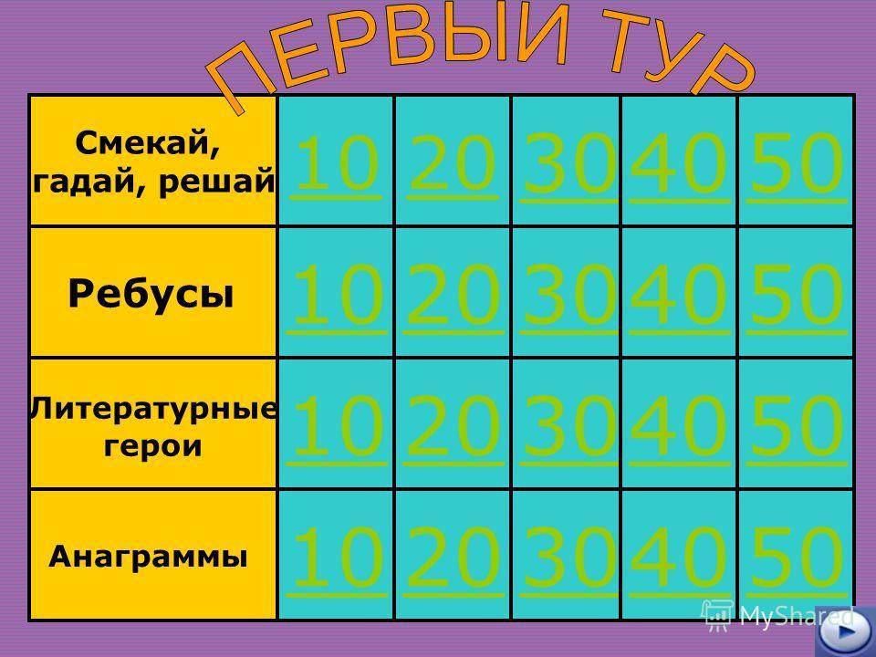 Ребусы Смекай, гадай, решай Литературные герои Анаграммы 10 20 30 40 50