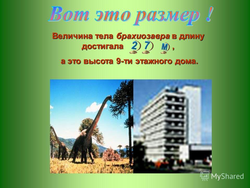 Величина тела брахиозавра в длину достигала, а это высота 9-ти этажного дома. а это высота 9-ти этажного дома.