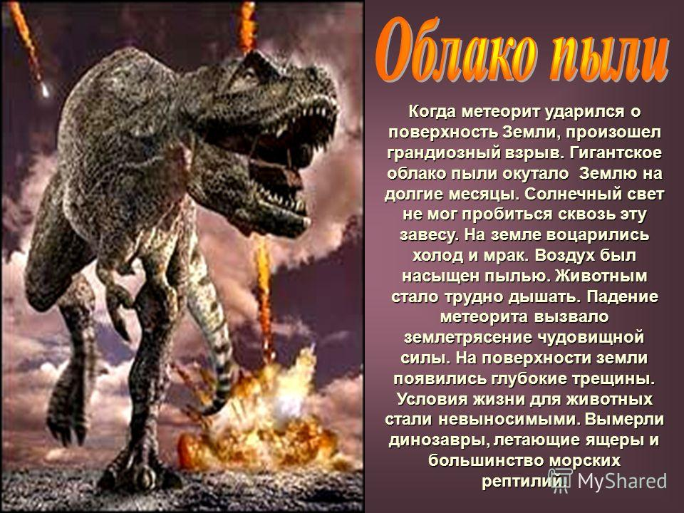 Когда метеорит ударился о поверхность Земли, произошел грандиозный взрыв. Гигантское облако пыли окутало Землю на долгие месяцы. Солнечный свет не мог пробиться сквозь эту завесу. На земле воцарились холод и мрак. Воздух был насыщен пылью. Животным с