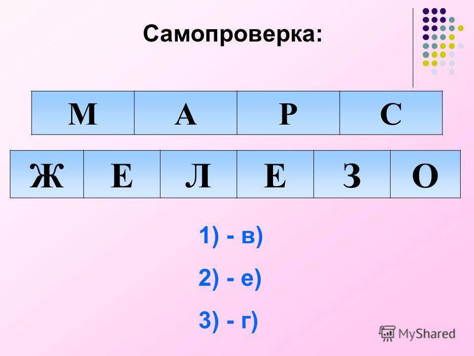 Самопроверка: МАРС ЖЕЛЕЗО 1) - в) 2) - е) 3) - г)