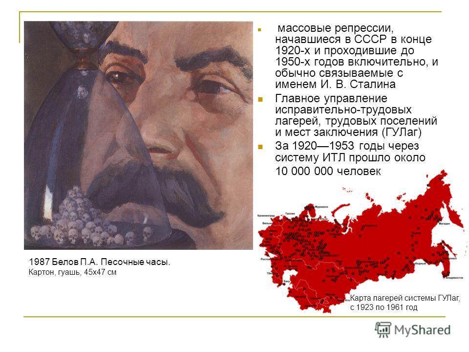массовые репрессии, начавшиеся в СССР в конце 1920-х и проходившие до 1950-х годов включительно, и обычно связываемые с именем И. В. Сталина Главное управление исправительно-трудовых лагерей, трудовых поселений и мест заключения (ГУЛаг) За 19201953 г
