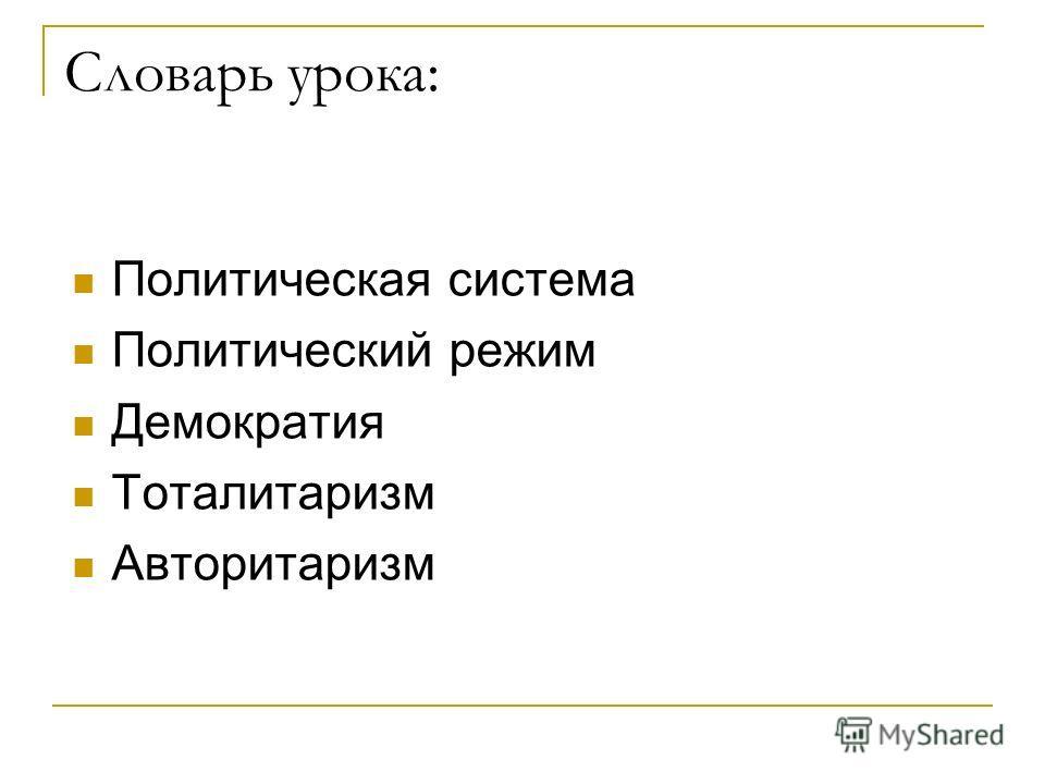 Словарь урока: Политическая система Политический режим Демократия Тоталитаризм Авторитаризм