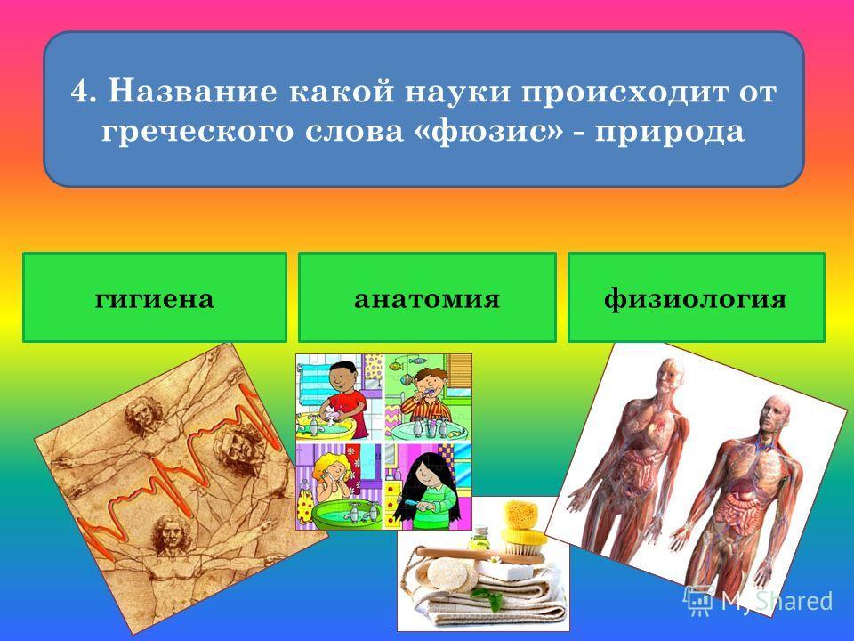 4. Название какой науки происходит от греческого слова «фюзис» - природа гигиенаанатомияфизиология