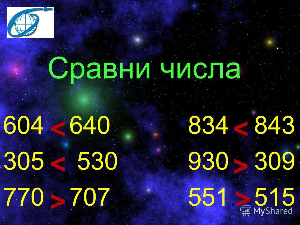 Сравни числа 604…640 834…843 305… 530 930…309 770…707 551…515 > > > < <