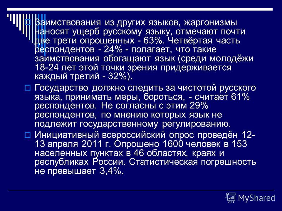 Заимствования из других языков, жаргонизмы наносят ущерб русскому языку, отмечают почти две трети опрошенных - 63%. Четвёртая часть респондентов - 24% - полагает, что такие заимствования обогащают язык (среди молодёжи 18-24 лет этой точки зрения прид