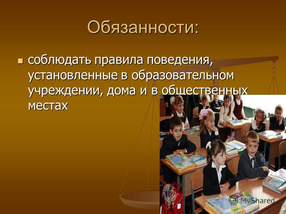 Обязанности: соблюдать правила поведения, установленные в образовательном учреждении, дома и в общественных местах соблюдать правила поведения, установленные в образовательном учреждении, дома и в общественных местах