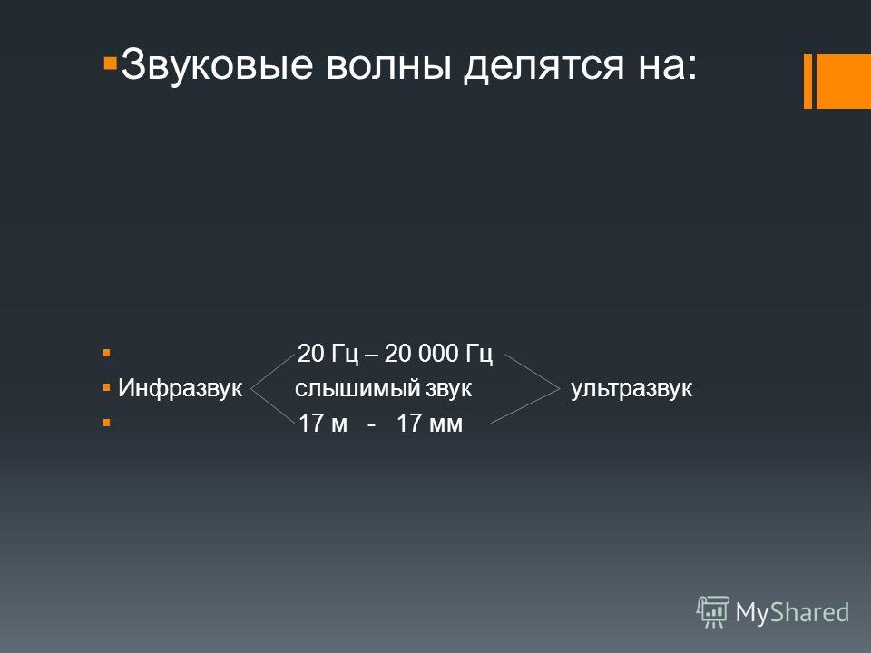 Звуковые волны делятся на: 20 Гц – 20 000 Гц Инфразвук слышимый звук ультразвук 17 м - 17 мм