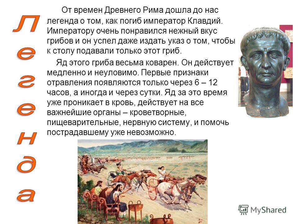 От времен Древнего Рима дошла до нас легенда о том, как погиб император Клавдий. Императору очень понравился нежный вкус грибов и он успел даже издать указ о том, чтобы к столу подавали только этот гриб. Яд этого гриба весьма коварен. Он действует ме