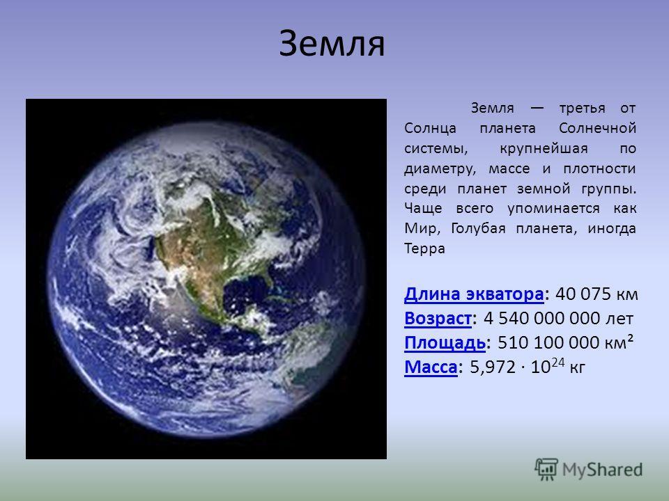 Земля Земля третья от Солнца планета Солнечной системы, крупнейшая по диаметру, массе и плотности среди планет земной группы. Чаще всего упоминается как Мир, Голубая планета, иногда Терра Длина экватораДлина экватора: 40 075 км ВозрастВозраст: 4 540