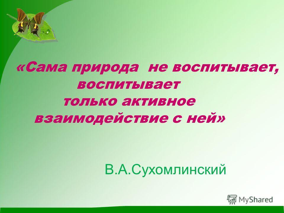 «Сама природа не воспитывает, воспитывает только активное взаимодействие с ней» В.А.Сухомлинский
