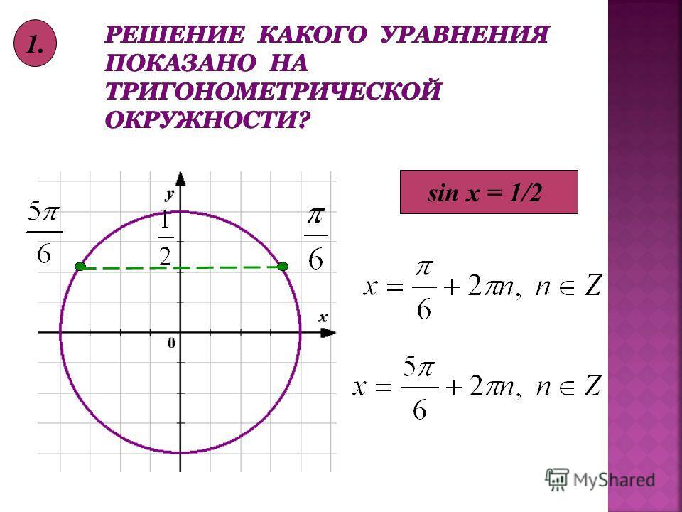 sin x = 1/2 1.