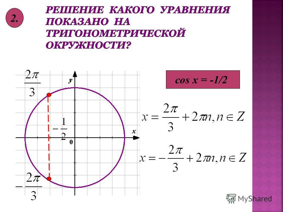 cos x = -1/2 2.