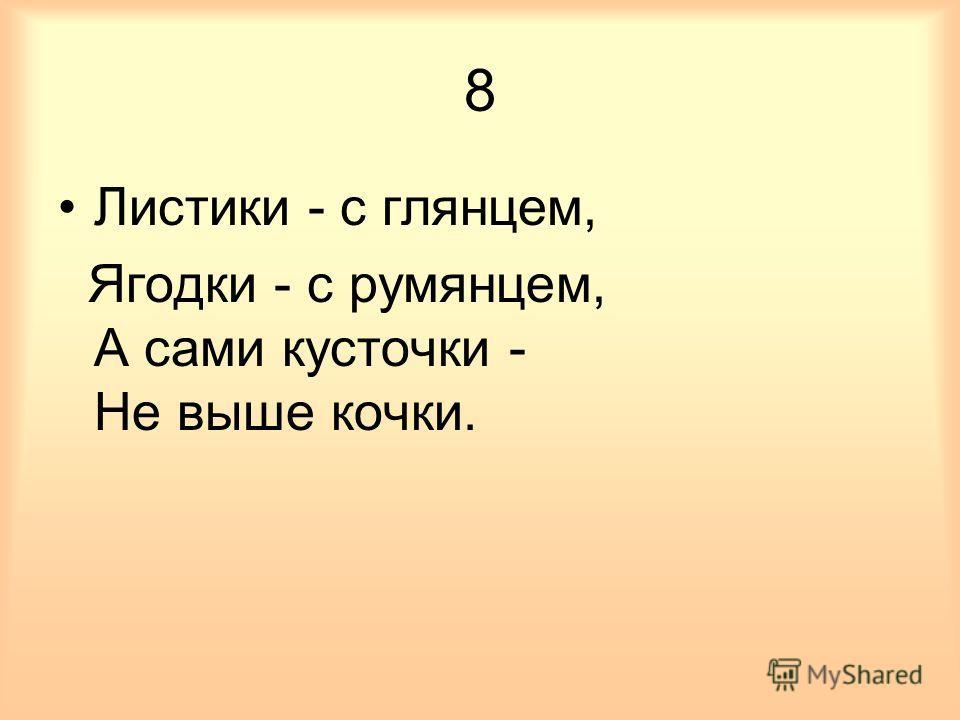 8 Листики - с глянцем, Ягодки - с румянцем, А сами кусточки - Не выше кочки.