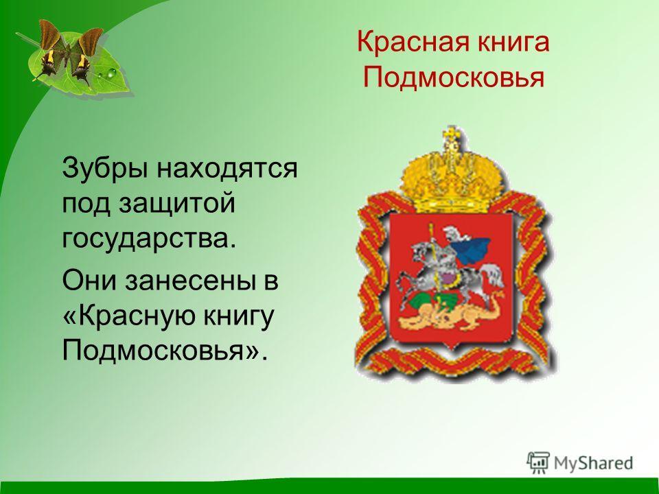 Красная книга Подмосковья Зубры находятся под защитой государства. Они занесены в «Красную книгу Подмосковья».